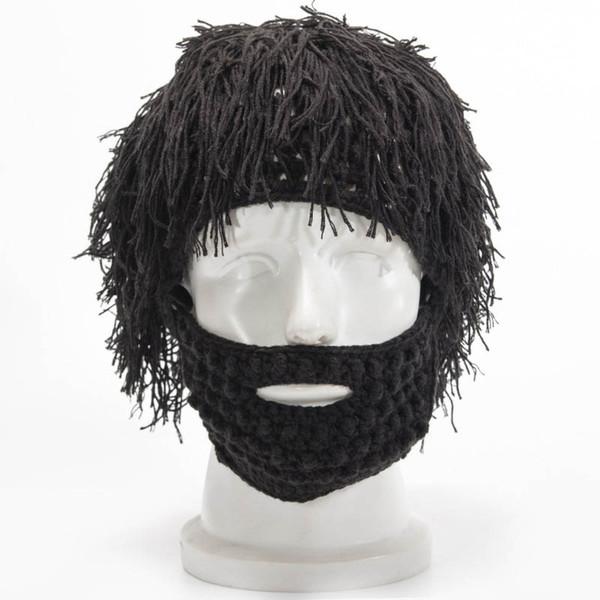 Nuovo Inverno Uomo fatto a mano parrucca Beard Cappelli Pazzo Barba lunga Vikingar Berretti Cap Cosplay regalo divertente cappello di Halloween