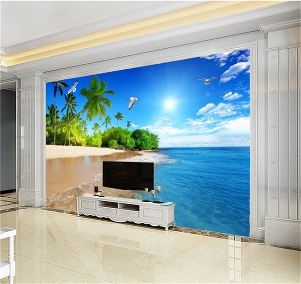 Custom Photo Wallpaper 3d Coconut Tree Seagull Beautiful Seascape Living Room TV Background Bound Wall Painting Wallpaper