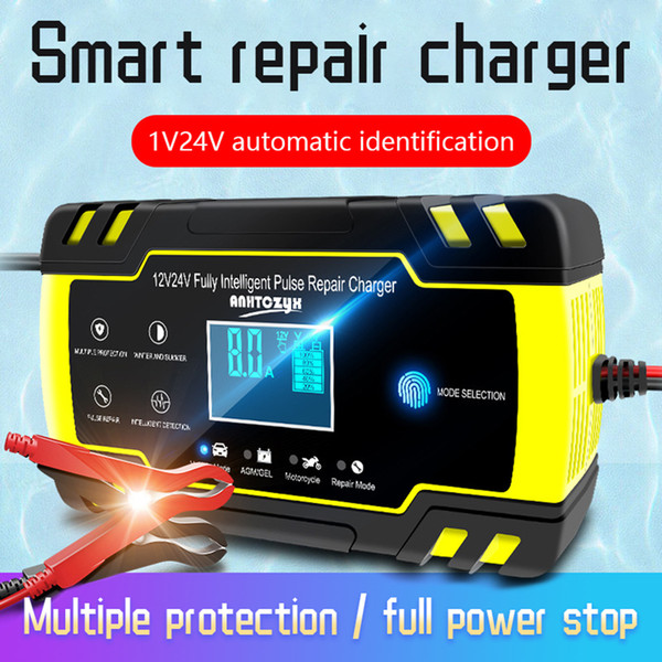 12/24V 8A Car Battery Charger Touch Screen Pulse Repair LCD Battery Standard Charger For Car Motorcycle Lead Acid
