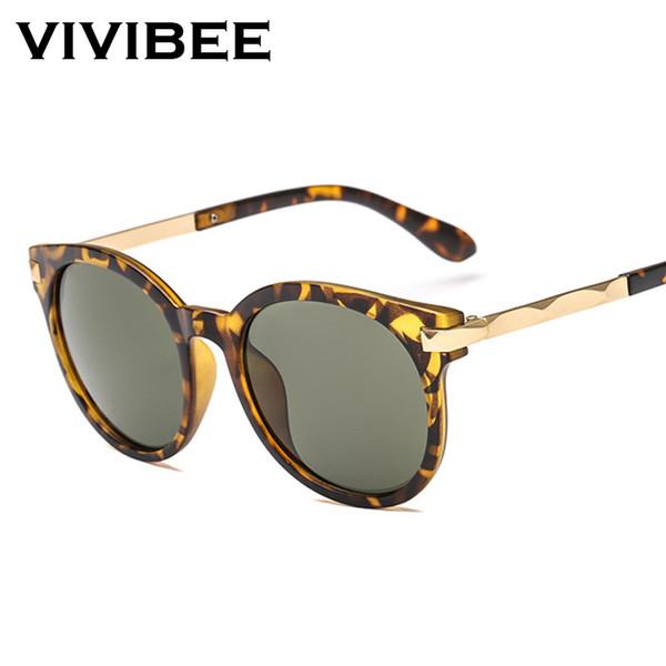 VIVIBEE Oversized Leopard Sunglasses Donna 2019 New Trend UV400 Occhiali da sole di lusso ovali retrò con tonalità coreane