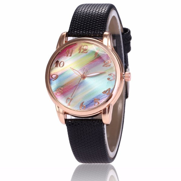 Fashion Women Watches Best Sell Rainbow color Dial Clock  Rose Gold Women's Bracelet Quartz Wrist Watches New Dropshipping