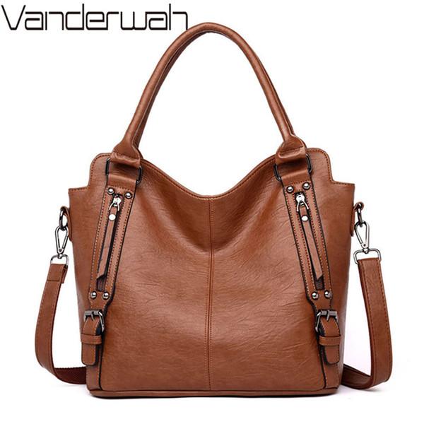 Vintage in morbida pelle borse di lusso delle donne le borse del progettista grandi signore della spalla borsa a mano tote borse crossbody per le donne 2019 sac