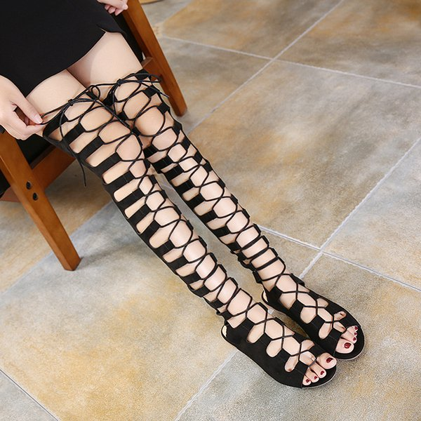 Xingdeng Women Over The Knee Long Hollow Sexy Flat Flock Sandals Shoes Lady Zip Lace Up Bandage Sexy Party Dress Sandal Shoes