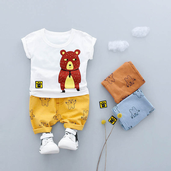 2019 Summer Boys Sets Boy baby suit short-sleeved T-shirt+shorts cute cartoon bear cotton fashion clothes
