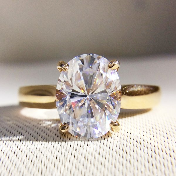 Gorgeous 1 Carat ct DF Color Lab Grown Oval Moissanite Diamond Ring Solitaire Engagement Wedding Ring 14K 585 Yellow Gold C18122701