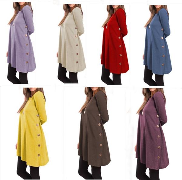 S-XXL nuove donne camicia a maniche lunghe camicetta signora ragazze autunno gonne lunghe con abiti moda pulsante molti colori