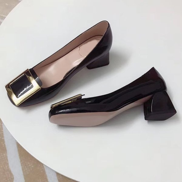 Classic luxury leather fashion brand ladies sexy comfortable leather thick with formal dress professional shoes