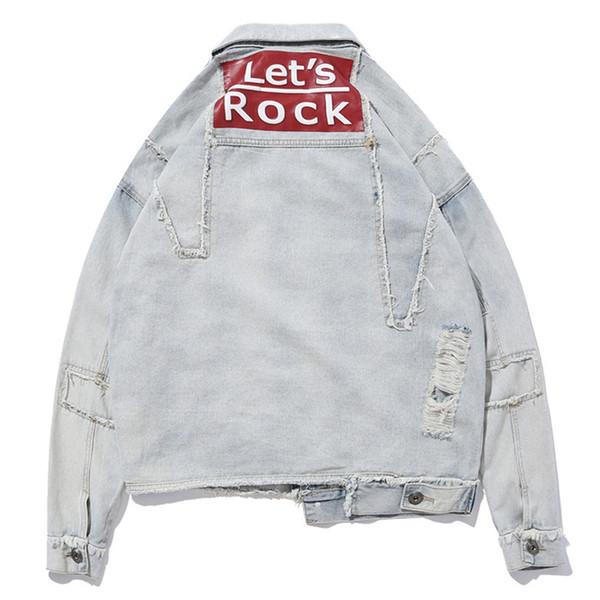 Hip Hop Loose Denim Jacket 2019 di alta qualità foro stampa jeans cappotto per ragazzo 2019 abbigliamento autunno J0243