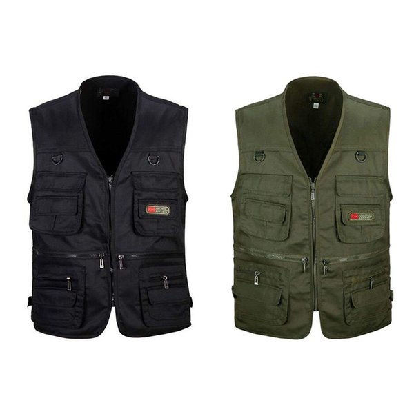 2 pcs men's fishing vest with multi-pocket zip for pgraphy / hunting / travel outdoor sport xxxl - green army & black thumbnail