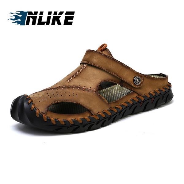 Homens Clássicos Big Size Sandálias Macias Confortáveis Homens Sapatos de Verão Sandálias De Couro Genuíno Macio