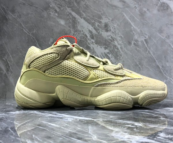 Super Moon Yellow 500 Running Shoes for Men and Women Pink Salt Kanye west 500 Ruuner Sports Shoes Utility Black Boots