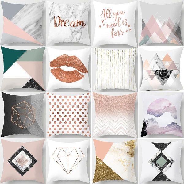 New Nordic moderne usine minimaliste géométrique taie d'oreiller de pêche en marbre rose canapé coussin coussin d'oreiller de jet gros directe luxe à New