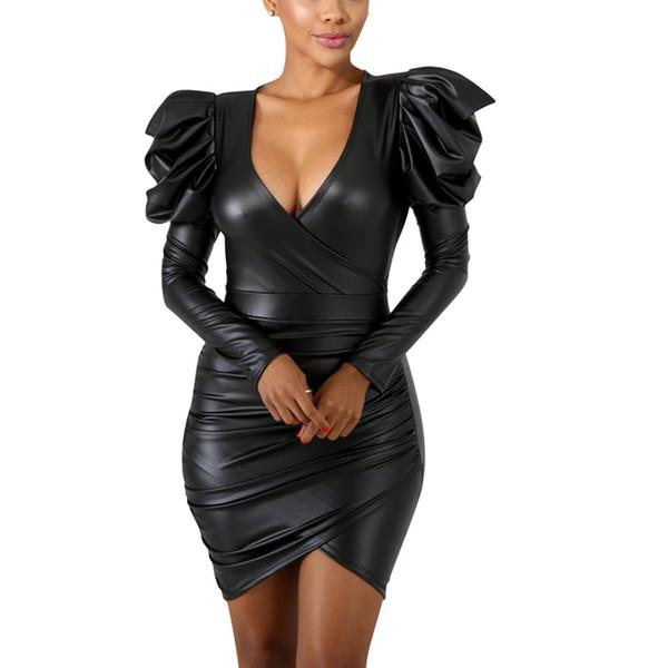 Faux Leather Vestidos Sexys Night Club Long Sleeve Women Bodycon Dress Multiway Party Dress Mini Dress Sexy Club Wear F0578