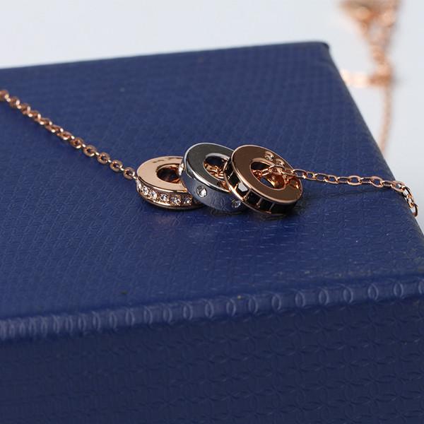 Três Anéis Diamantes Mulher Colares Jovem senhora de Cristal Austríaco Vestido de Festa Pingente Colares Clavícula Bonita Com Caixa