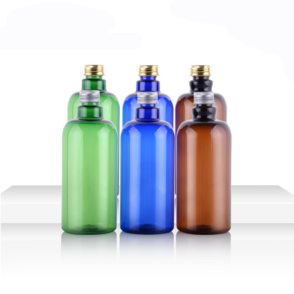 16 oz/500 ml Aluminium Screw Cap PET Plastic Bottles With blue green amber Portable Cosmetic Makeup Storage Container