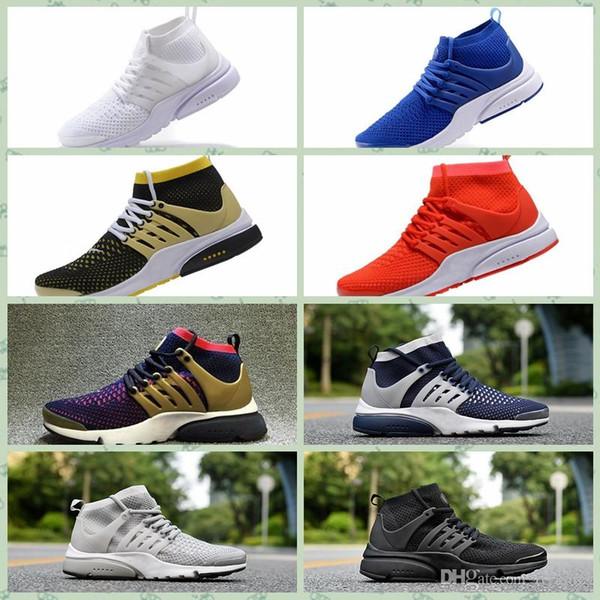 Nike Pristo Flyknit 2019 chaussures de designer Prestos High Uppers Acronym Air mids Blanc Noir Bleu Jaune Hot Lava occasionnels chaussures pour hommes femmes chaussure size36-45