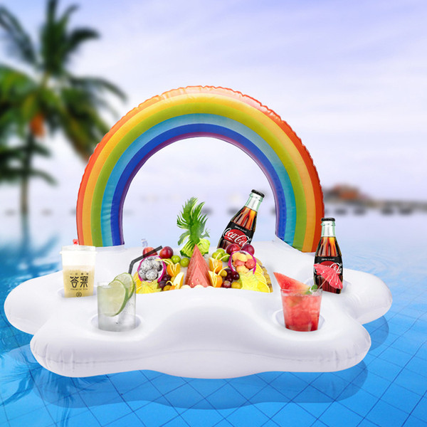 Hot multifunción Rainbow Copa inflable Rainbow Cup Holder Piscina flotadores Anillo de natación Pool Toys Beach Island bebida Holder T2I5203