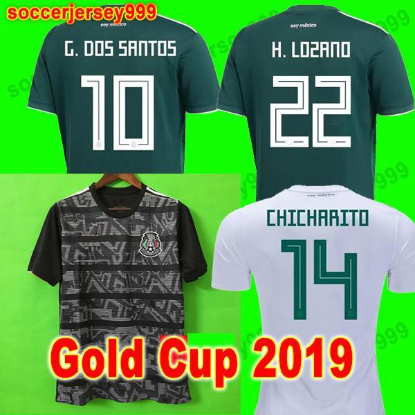 Copa Oro 2019 Camisetas Mexico 19 20 black out camiseta de fútbol HOMBRE MUJER CHICHARITO LOZANO MARQUEZ DOS SANTOS camiseta de fútbol femenino