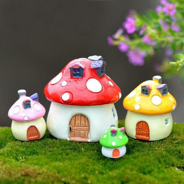 4PcS/set Mediterranean house mushroom Castle DIY Resin Fairy Garden Craft Decoration Miniature Micro Gnome Terrarium Gift F0176