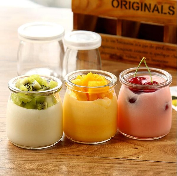 6pcs / lot 100ML Pudding Bottiglia Miele Yogurt Bottiglia di vetro Mini jar Jelly Milk Baking Muffa Food Storage Container