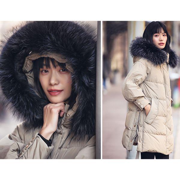Damenmode Winter Feder Daunenjacke 100% großen Pelzkragen Hut warme Winter großen Mantel koreanische gesteppte Mäntel Echt Bild
