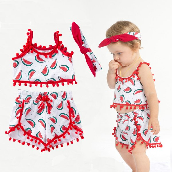 3pc Baby Girl Clothes Set Designer Beach Clothes Tank Top Shorts Summer Headband Cute Outfits 19050602