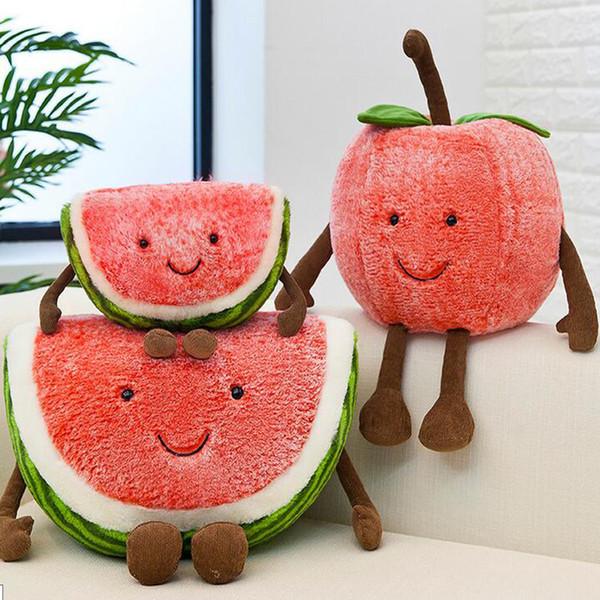 New Fruit Vegetables Plush Toys Fruit Watermelon Cherry Stuffed Pillow Sofa Toys For Children Girls Gift