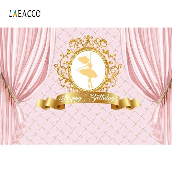 Prinzessin-Backdrops Pink Curtain Birthday Party-Goldkronen-Ballett-Mädchen-Porträt-Fotografie-Hintergründe Photocall-Foto-Studio