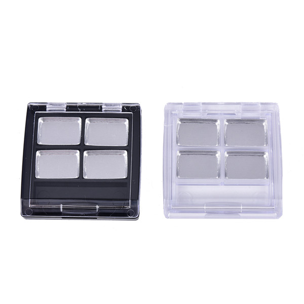 One Piece 4 Grids Eyeshadow Case Empty Cosmetic Blusher Compact Clear and Black Base 4 Palettes Pans Eye shadow Container