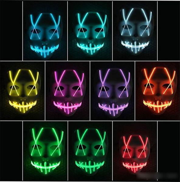 Hot LED Light Mask Striscia led Luce al neon flessibile Luce Glow EL Filo metallico Luce al neon Controller faccia Halloween luci natalizie