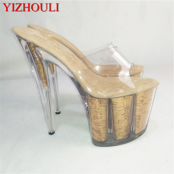 Clear Platform Sexy Novelty Grain Heels Crystal Shoes 8 Inch High Heel Shoes For Lady Fashion 20cm Yellow Slippers