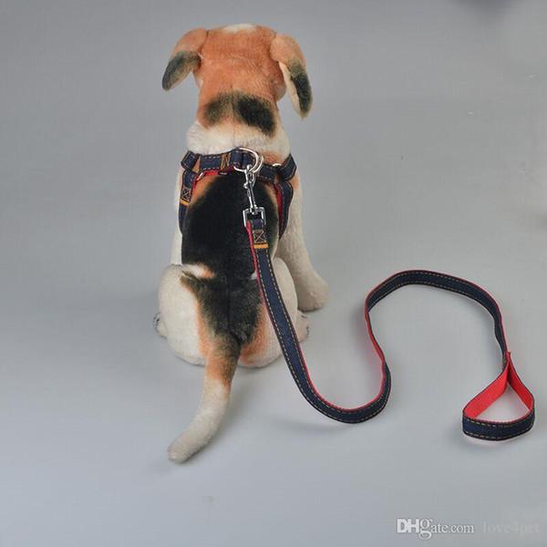 E23 Yeni varış denim pet köpek koşum ve tasmalar set yüksek kalite köpek tasmalar ücretsiz kargo