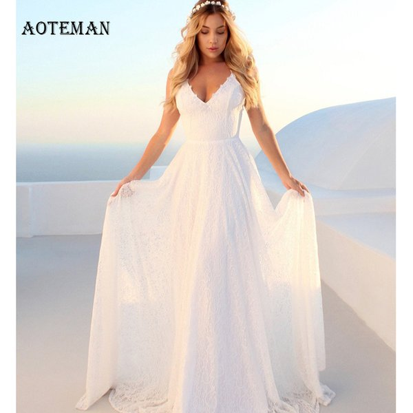 Summer Dress Women 2019 Sexy Elegant Slim Ball Gown Long Lace Dresses Ladies Fashion Hollow Out White Maxi Party Dress Vestidos T4190604