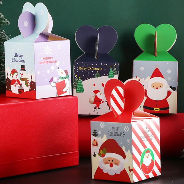 Merry Christmas Fruit Box Cartoon Snowman printed Candy Box Cupcakes Dessert Cookies Gift paper Boxes Snack packaging Square Box