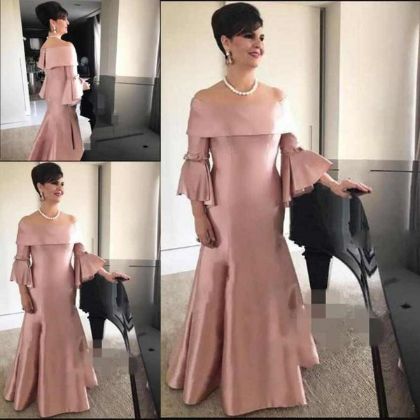 Sexy nude pink Mother Of The Bride Dresses Off The Shoulder Long Sleeves Cheap Plus Size Mermaid Party mother prom Gowns