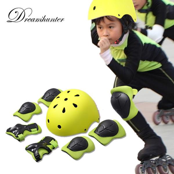 Fahrradhelm 7 In 1 Satz Sport Schutz Schutz Kinder Ellenbogen Handgelenk Knieschützer Kinder Rollschuh Skateboard Knieschützer # 321098