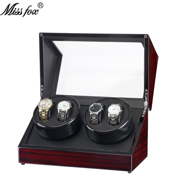 MISSFOX Electric Motor Box 4+0 Black Sandalwood Paint Electric Wave Table Automatic Winding Watch Box Double Head Rotating Watch