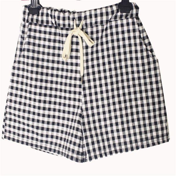 2019 Women Shorts Organic Cotton Plaid Wide Leg Pants Women All Match Elastic Waist Relaxed Loose Plus Size Casual Women Culottes Hot Sale