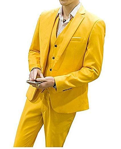 Amarelo 3 peça terno dos homens terno novo noivo bola casamento smoking negócio está sendo renovado confortável de alta qualidade (Jacket + Pants + Vest)