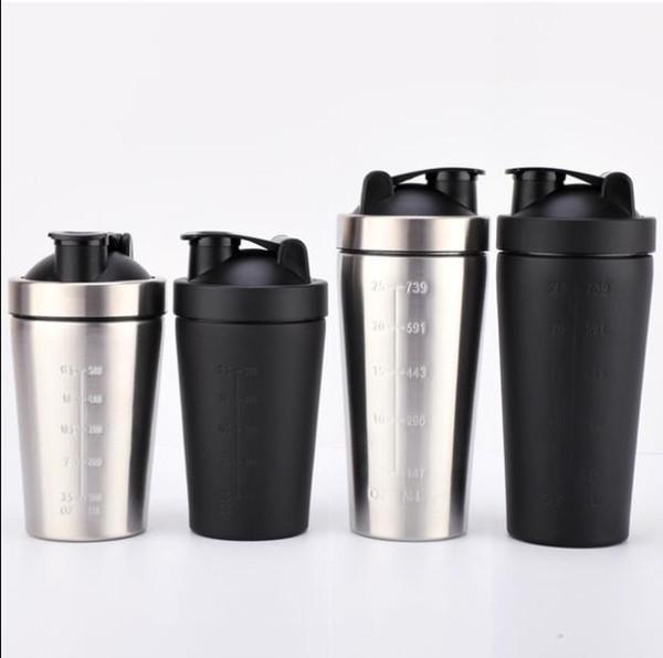 Shaker Bottle for Gym Fitness Sports 304 Stainless Steel Portein Shaker Cups Leak Proof Milk Shake Measure Cups