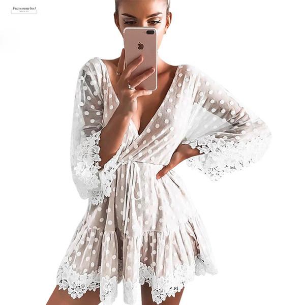 White Beach Dot Minikleider Frauen-Sommer-reizvolle V Ansatz Partei-Spitze-Ineinander greifen Kleid Backless Aufflackern-Hülsen-Vestidos
