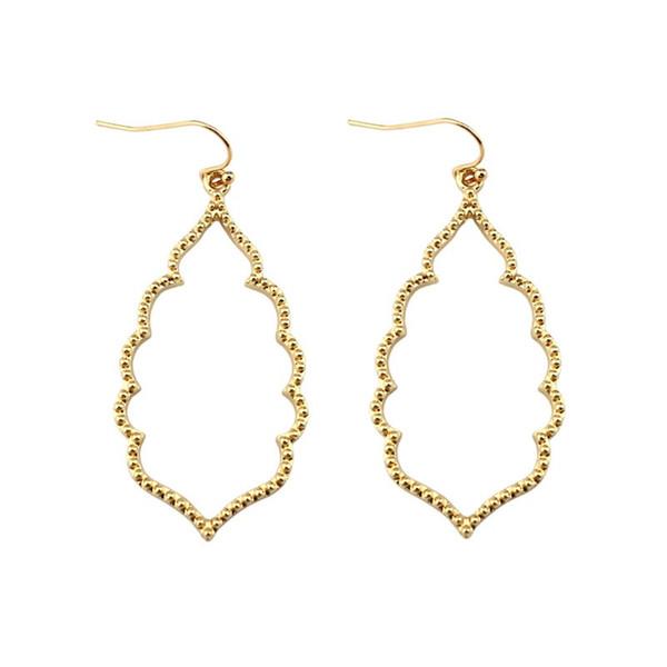 LET IT BE Wholesale Brand KS Gold Filigree Teardrop Hexagon Earrings for Women Fashion Oval Hook Earrings Jewelry 2017