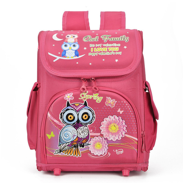 Large Capacity Girls Cartoon Owl Bird School Bags Boys Racing Cars Primary Students Nylon Orthopedic Backpacks Kids Knapsack