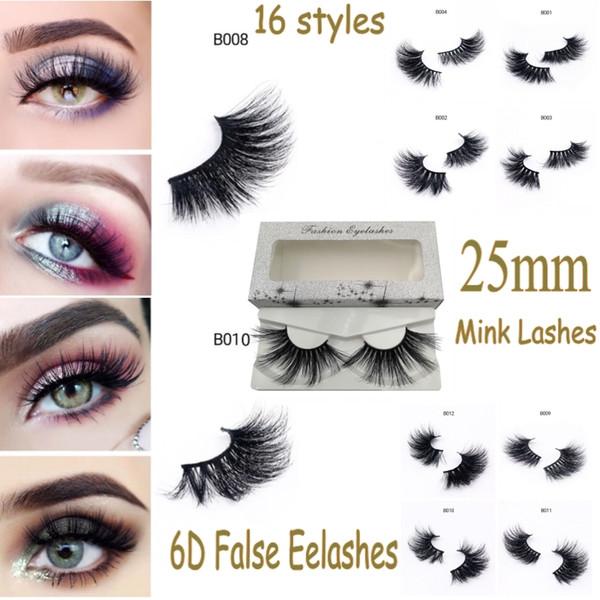 25mm Long 6D Real Mink Lashes Long Lasting Mink Eyelashes Big Dramatic Curly Eyelashes Strip Individual False Eyelash Box
