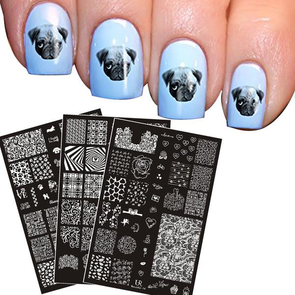 Nuevo 3 UNID Placas de Estampación de Uñas Lindo Perro Flor de vid Imagen del Corazón Sobreimpresión DIY Manicura Placa 3 Diseño Nail Art Stamping plantilla