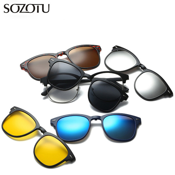 Optical Eyeglasses Frame Men Women With 5 Clip On Magnets Polarized Sunglasses Computer Glasses Spectacle Frame For Male YQ337