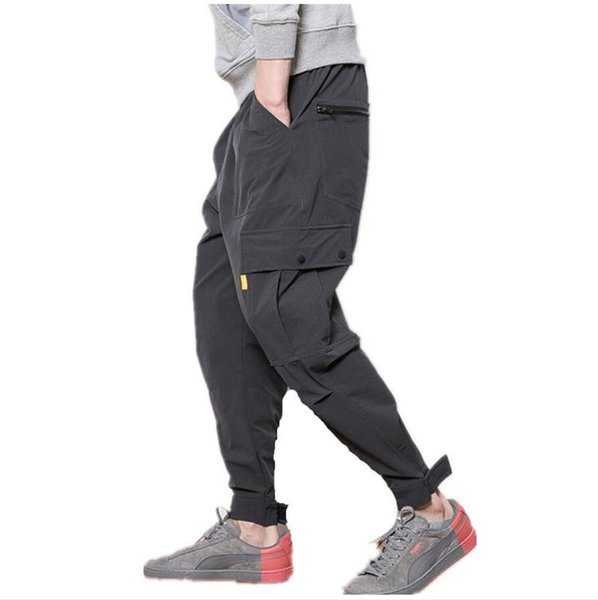 Fitness Long Pants Men Casual Sweatpants Baggy Jogger Trousers Fashion Fitted Bottoms streetwear hiphop black cargo pants