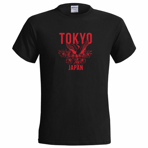TOKYO CRANE ART DESIGN MENS T SHIRT JAPAN STREET STYLE URBAN COOL JAPANESE suit hat pink t-shirt