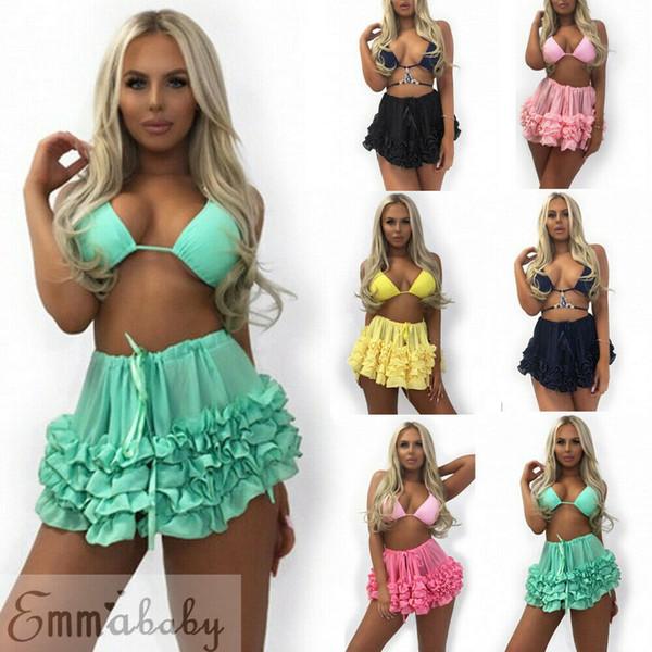 Sexy Womens Bikini Cover Up Skirts Sheer Beach Wrap Skirt Sarong Pareo Dress