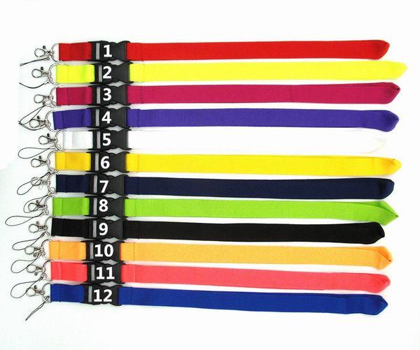 12 colori Blank Lanyard disponibile Neck Strap ID card per Cell Phone String Catene chiave NeckStrap DHL
